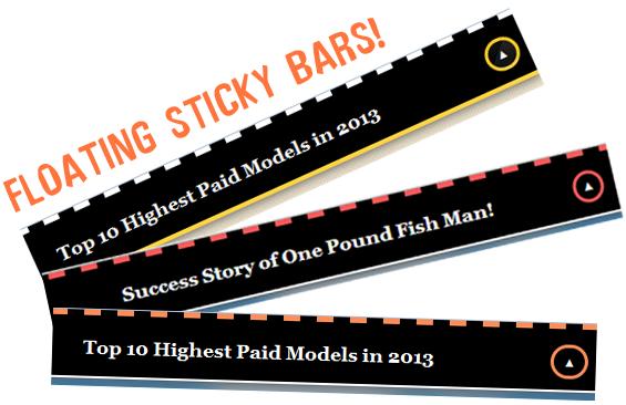 Sticky Floating Bar widget with random post titles