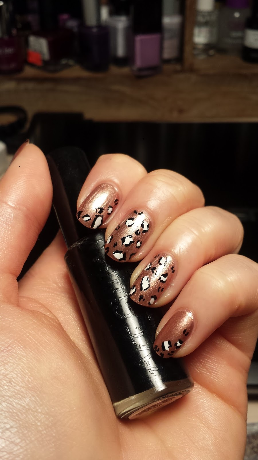 Miss Ruby Nails Rose Gold And White Leopard Nails