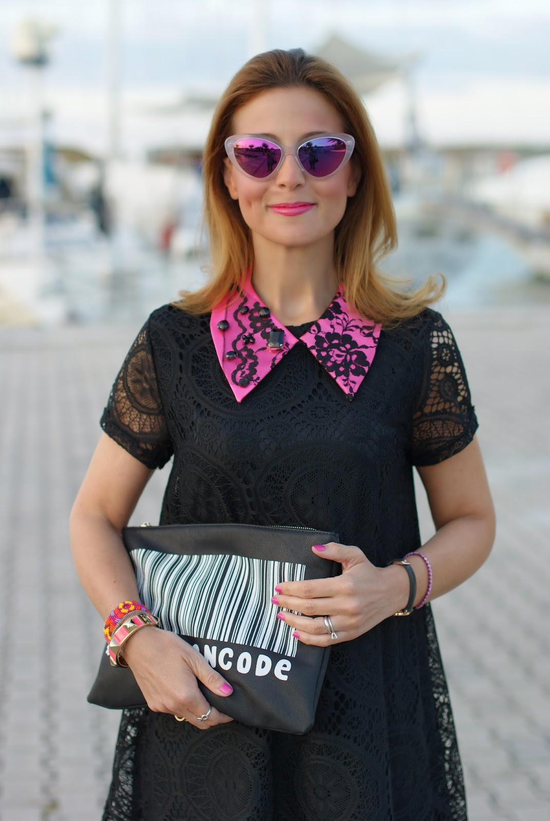 Essequadro eyewear, Fato creazioni, Blackfive lace dress, pink sunglasses, Fashion and Cookies, fashion blogger
