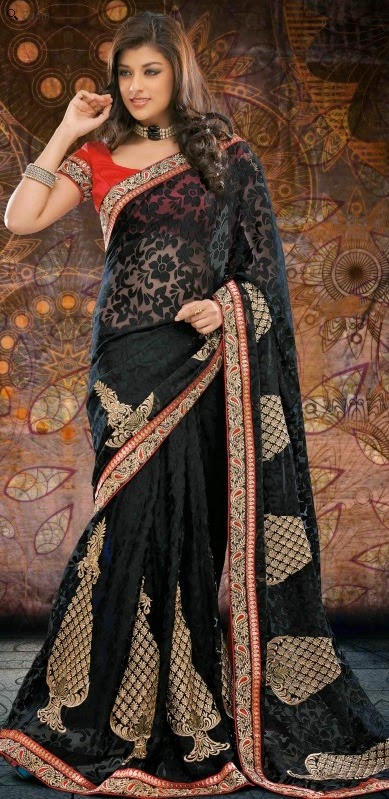 Brasso Black Designer Embroidery Saree with Unstitched Blouse