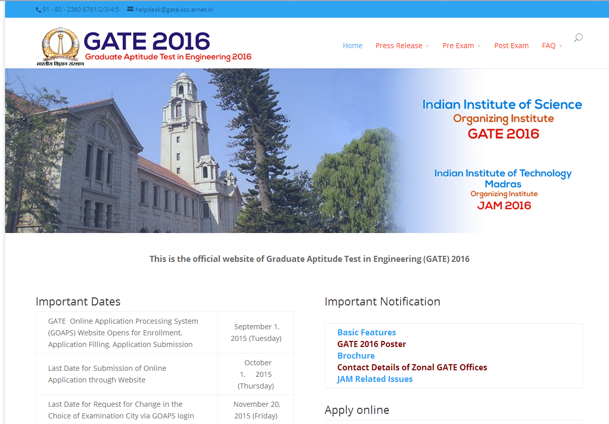 online application website gate 2015