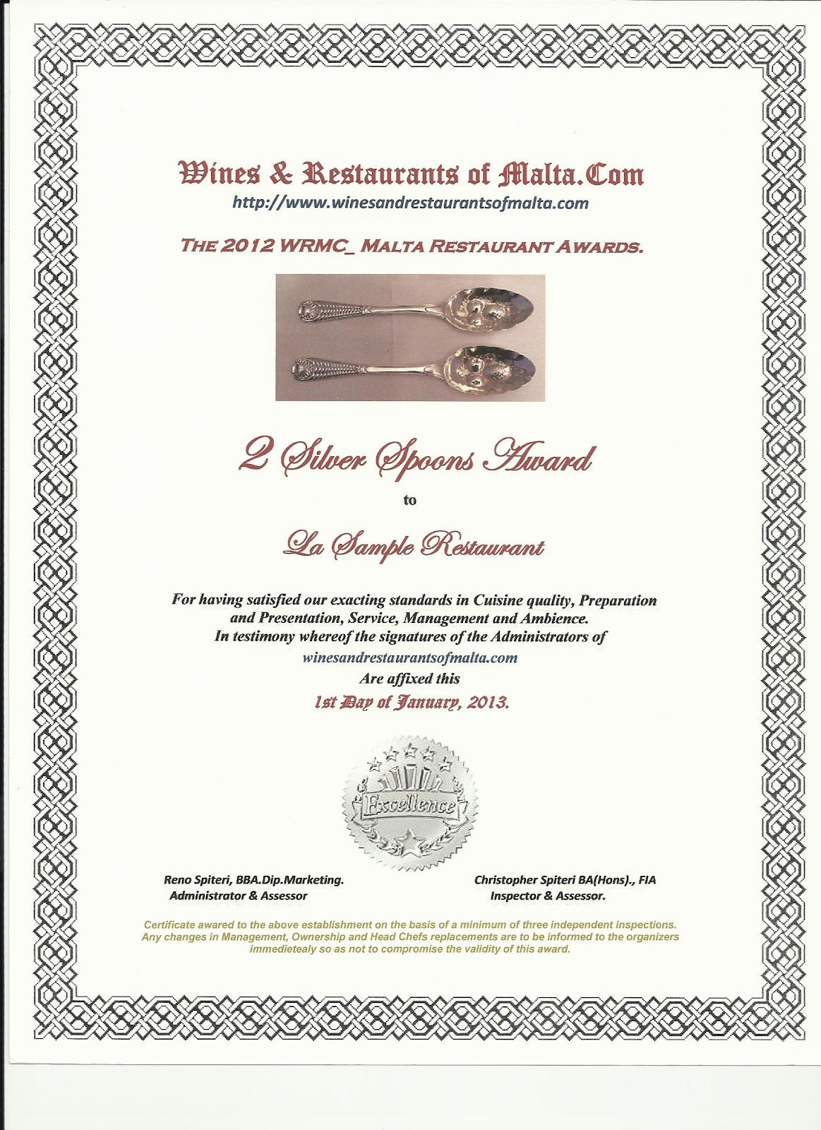 Restaurant Awards Quality Recognition Wines Restaurants Of Malta