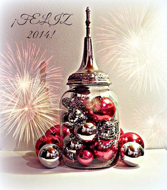Arreglo de Navidad en frasco vidrio con esferas