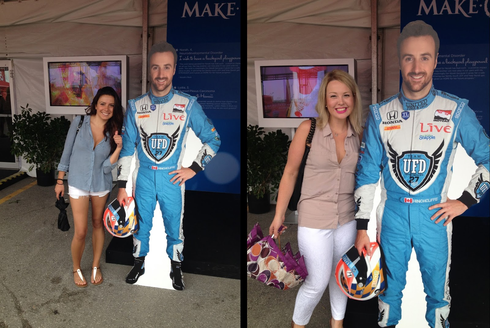 Us gals in front of a James Hinchcliffe cardboard cutout
