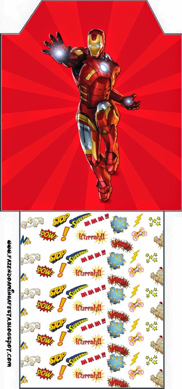 Bolsita de Té para imprimir gratis de Iron Man.