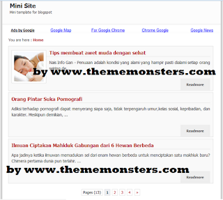 Free and Fast Blogspot  Minisite Theme