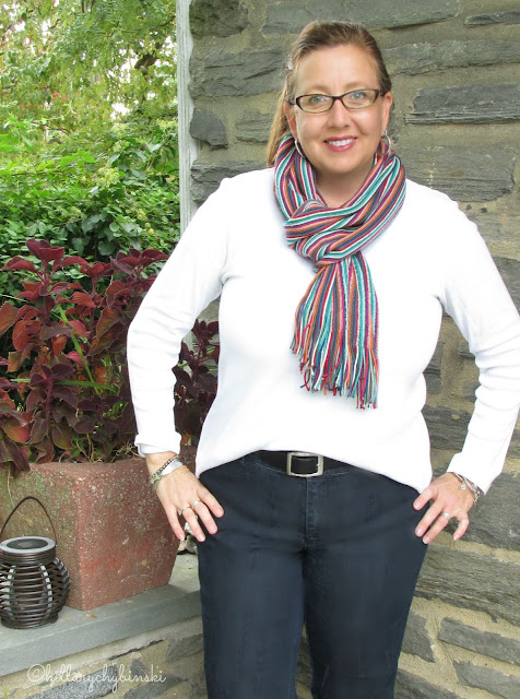 Striped Long Scarf Styled for Fall