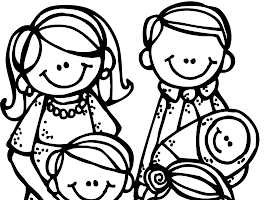 Family Going To Church Coloring Page
