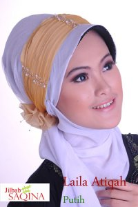 Saqina Laila Atiqah - Putih Kuning (Toko Jilbab dan Busana Muslimah Terbaru)