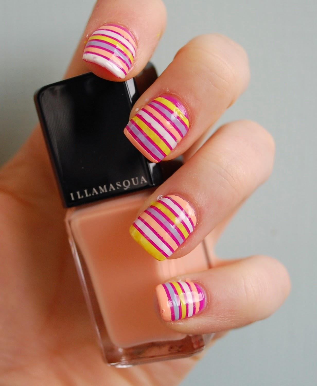 Stripe Nail Art: In SAMazement: Colourful Stripe Nail Art