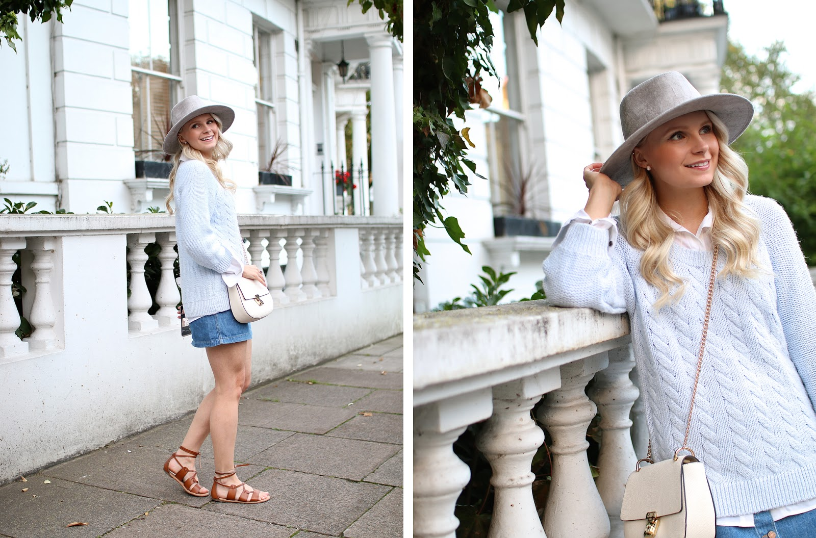 a pale blonde women laughs while wandering through notting hill in london, wearing a denim skirt and grey hat