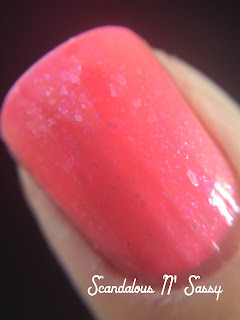 Pahlish Watermelon Punch with pink flakies macro
