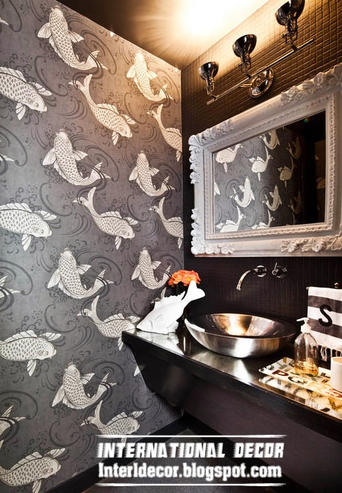 Black and white wallpaper for bathroom interior