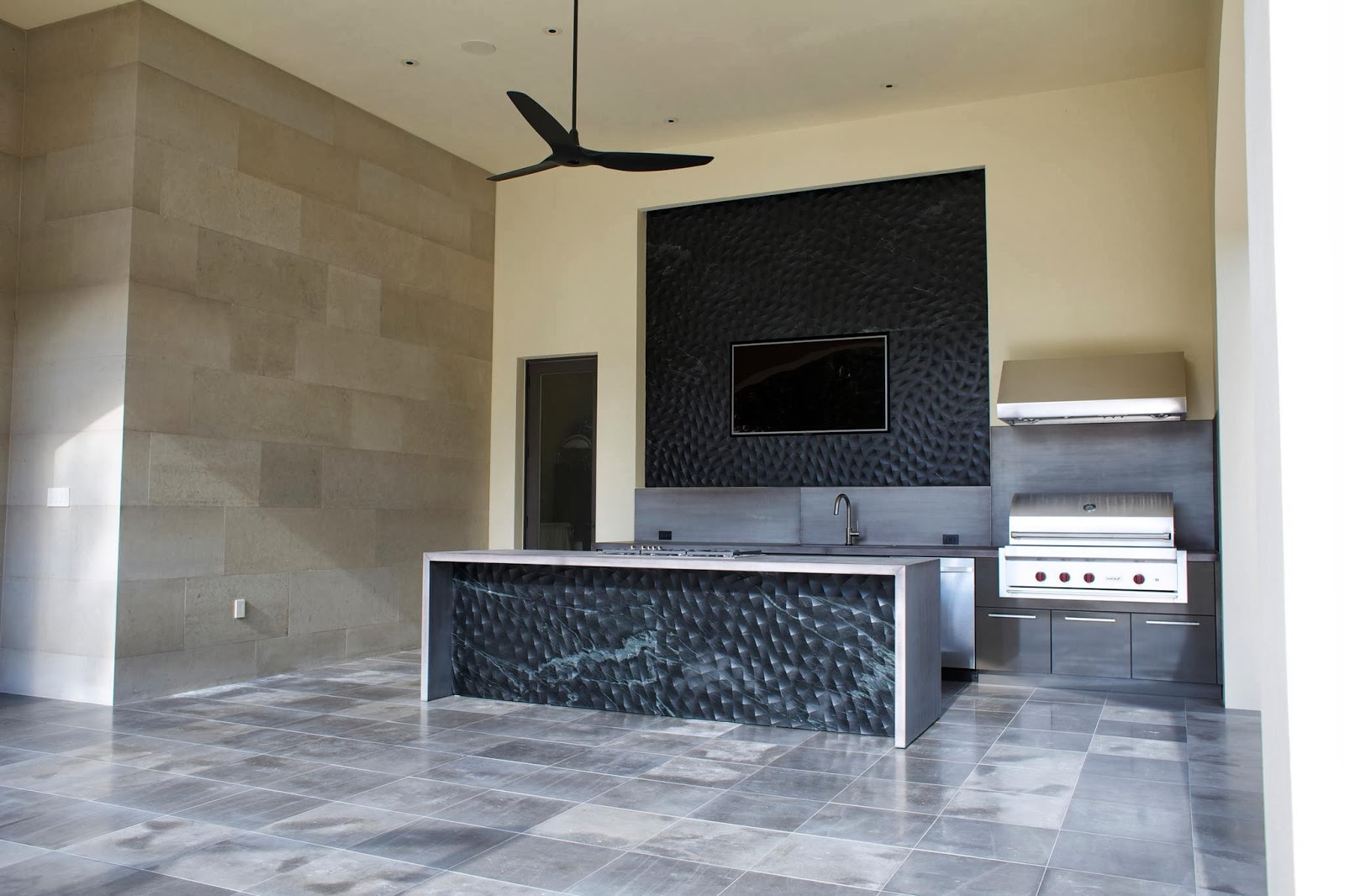 These Black 3d Panels Are Made Out Of Noire Soapstone. Escobedo  Construction Cut The Custom Pattern Into The Panels On Their 5 Axis CNC  Machine And It ...