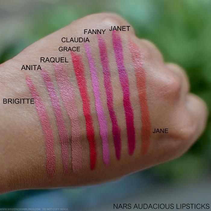 NARS Audacious Lipsticks Swatches Brigitte Anita Raquel Grace Claudia Fanny Janet Jane