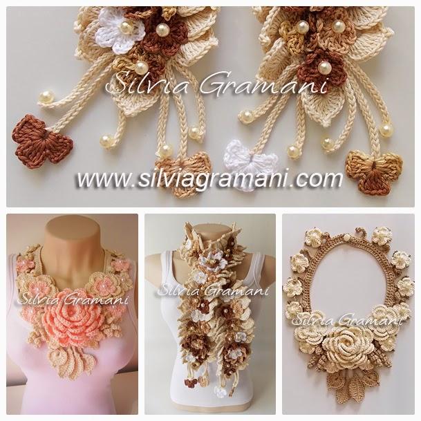 Colares e Cordão com Flores de Crochê