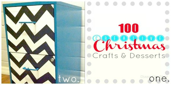 http://chasethestar.net chevron file cabinet, 100 christmas crafts and desserts