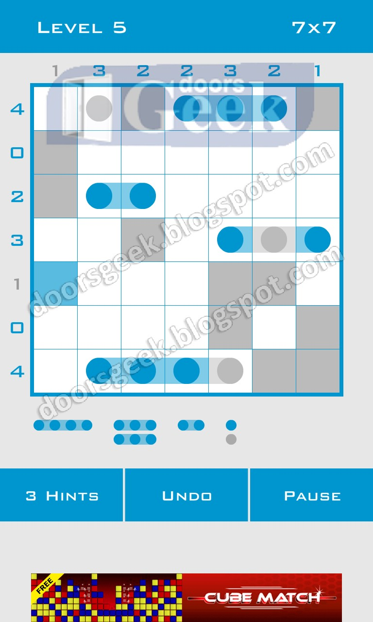 Logic dots 7x7 level 5 solution doors geek for Solution wordbrain cuisine