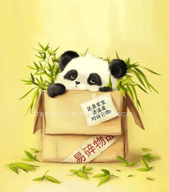cute painting panda