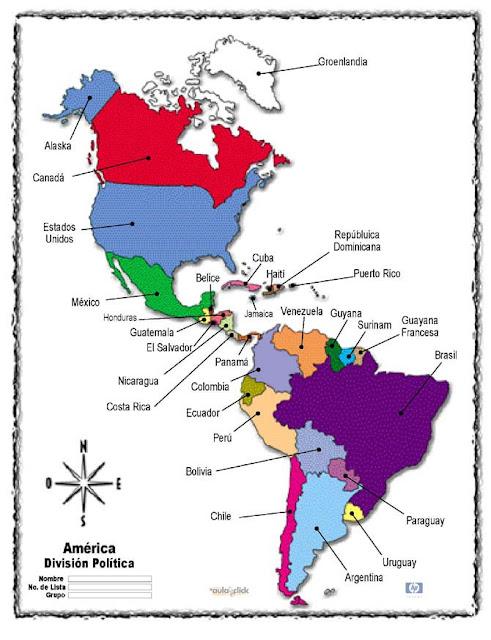 Mapa Con Capitales De America