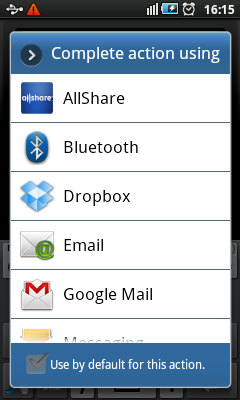 Android Recorder - Share Dialog