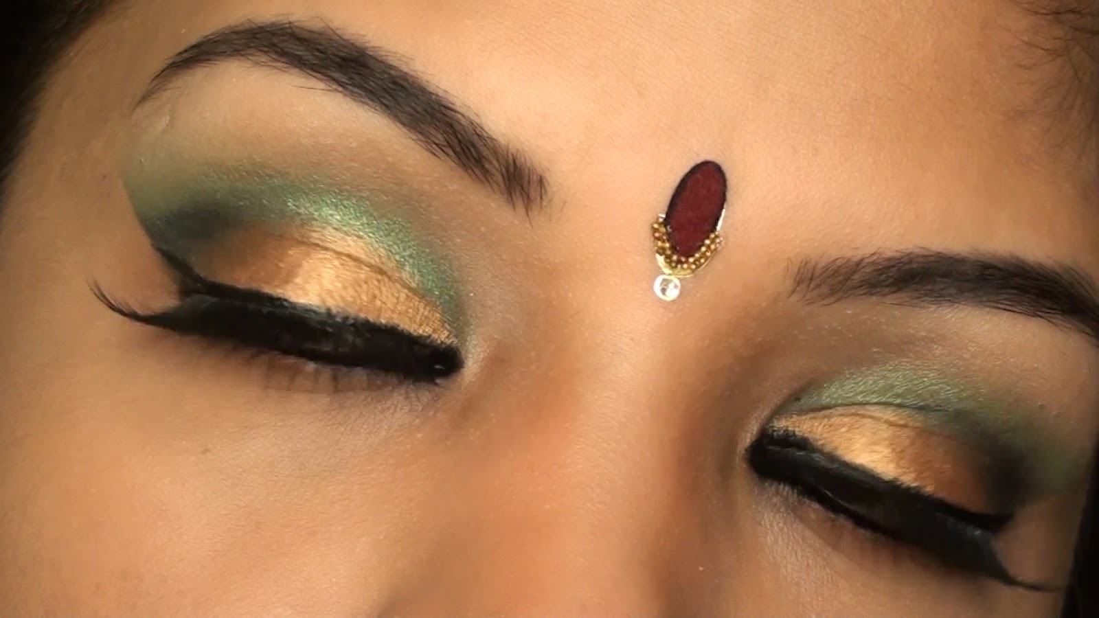 Bollywood Inspired Indian Bridal Wedding Make Up Tutorial Gold And Green Eye Makeup