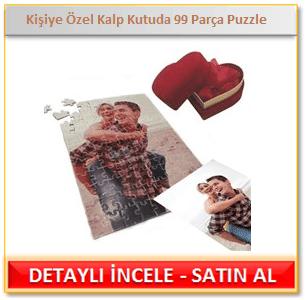 Kişiye Özel Kadife Kalp Kutuda 99 Parça Puzzle