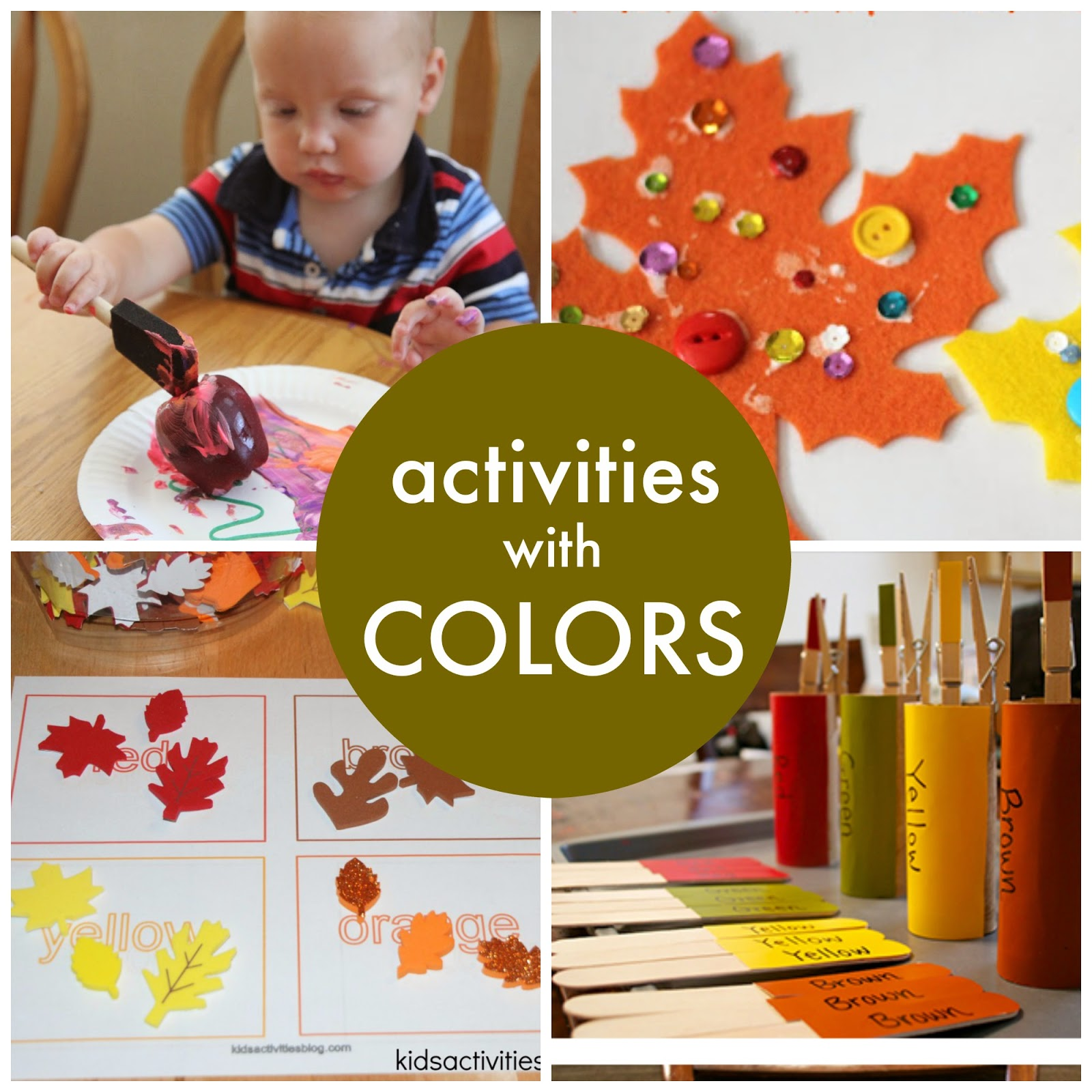 Fall colors activities for toddlers - Sparkly Fall Leaves