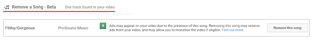 Notice showing that a piece of copyrighted music has been detected in a video