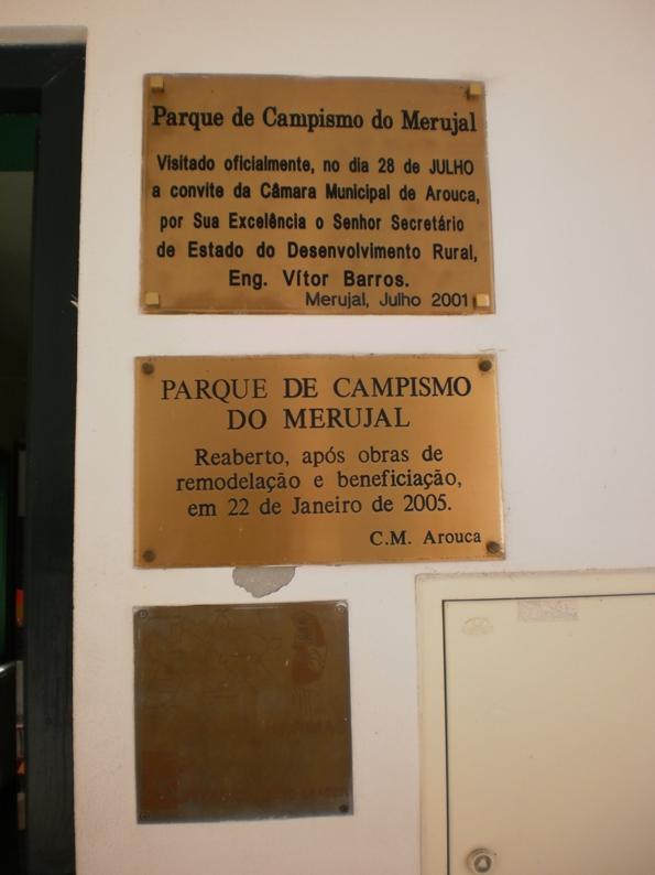 parque de campismo do Merujal - Placas de inauguração