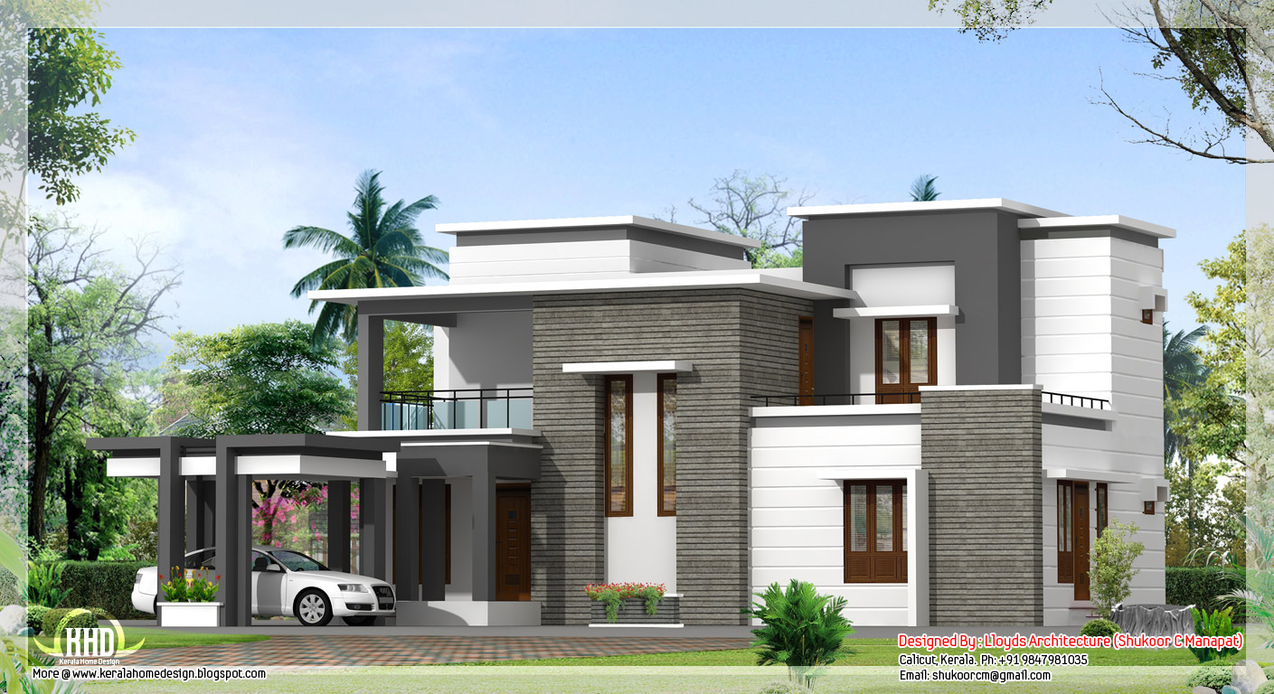 2000 sq feet contemporary villa plan and elevation for Flat roof elevation