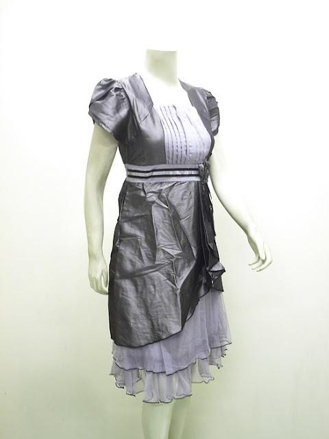 Ladies Gaun Pesta Fashion Elegant Tafeta Import | LC-3627-Abu