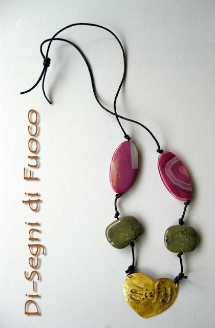 collana cuore-nome con pendente in ottone Collana+cuore
