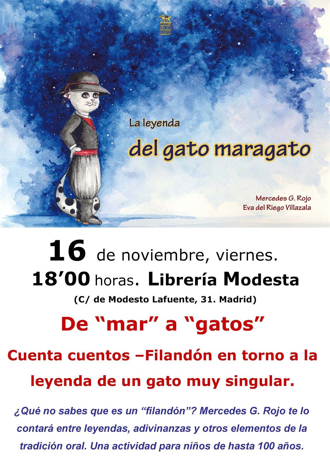"""De """"mar"""" a """"gatos"""", en la Librería Modesta de Madrid."""