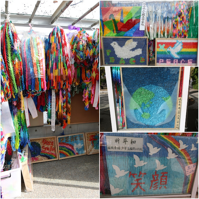 Thousands of origani cranes are offered around Children's Peace Monument to wish for world peace in Hiroshima, Japan