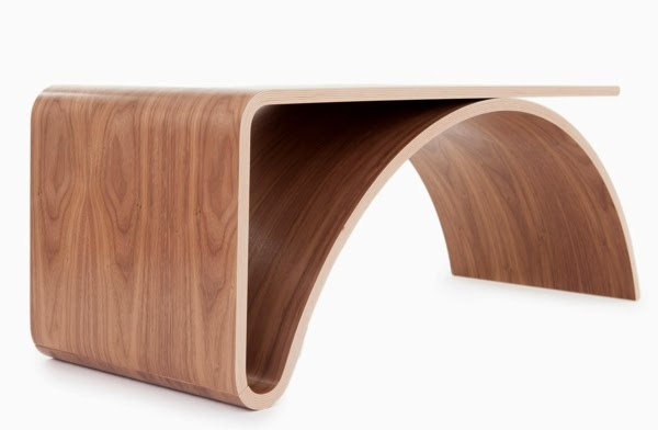 Curved modern wood coffee table design for minimalist for Table moderne design