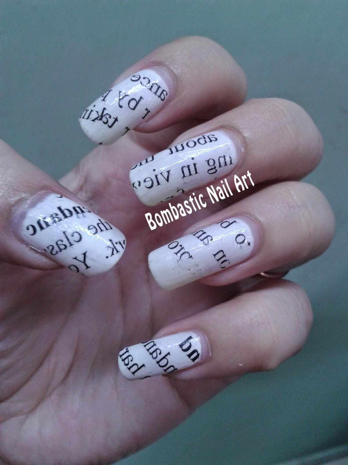 Day 25: Newspaper Nails – Bombastic Nail Art