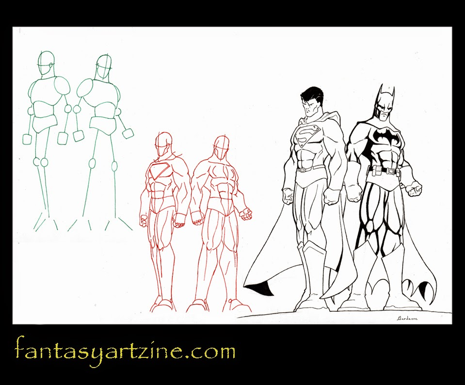 How to draw Superman and Batman. DC superheroes.
