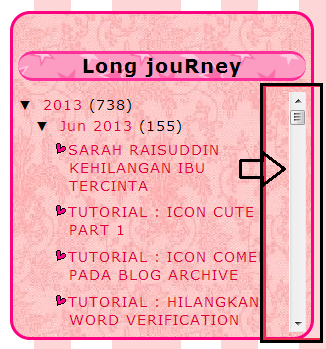 TUTORIAL BLOG, tutorial blog archive.tutorial icon comel pada blog archive, ,letak scroll box pada blog archive