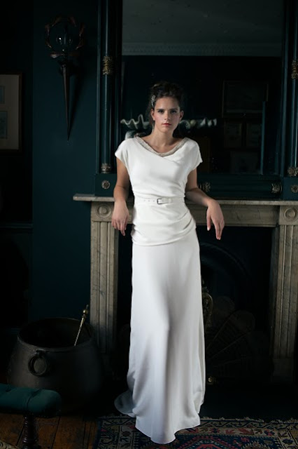 'BETTE' vintage wedding dress design. A flattering, glamorous 1940s style in drapey satin,