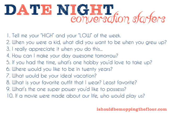 How to have a date night IN! Free printable conversation starter cards. #shop
