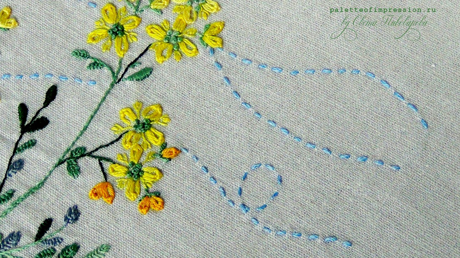 "Желтая рута. Sadako Toscuka ""Herb Embroider on Linen 1"". Блог Вся палитра впечатлений"