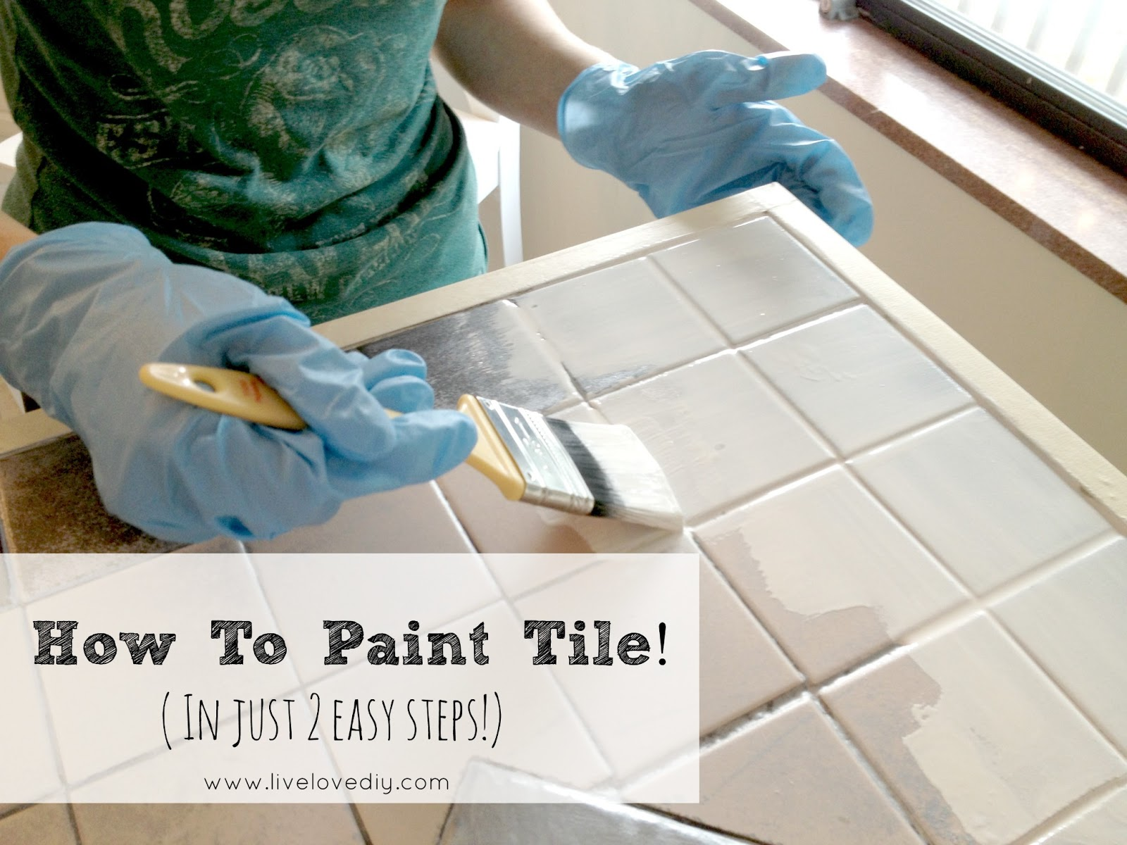Livelovediy how to paint tile countertops for How to paint bathroom wall tile