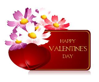 花のバレンタインデー カード テンプレート Heart valentine day greeting card イラスト素材1