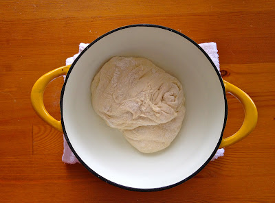 dough in a dutch oven for barking