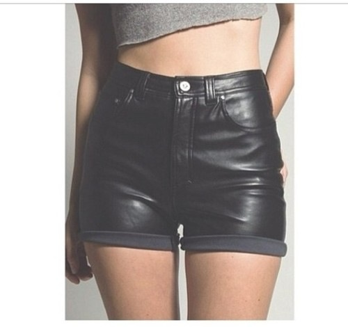 leather shorts, short shorts, high waisted shorts, folded leather pants