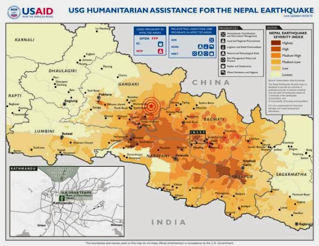 Map of Earthquake in Nepal