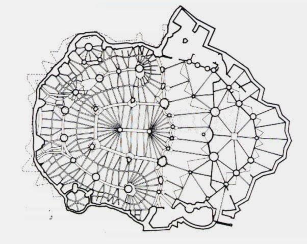 planta de la Cripta de la colonia Güell, Gaudí