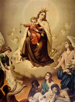 la Virgen con el Niño sentado en sus piernas mostrando el Escapulario y Angeles