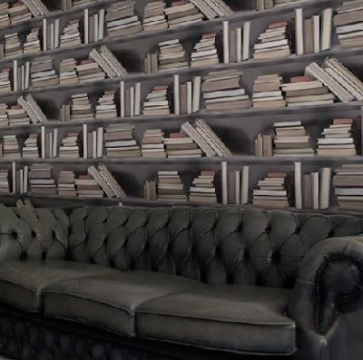 Papel tapiz para simular una biblioteca la guarida geek - Papel tapiz para paredes ...